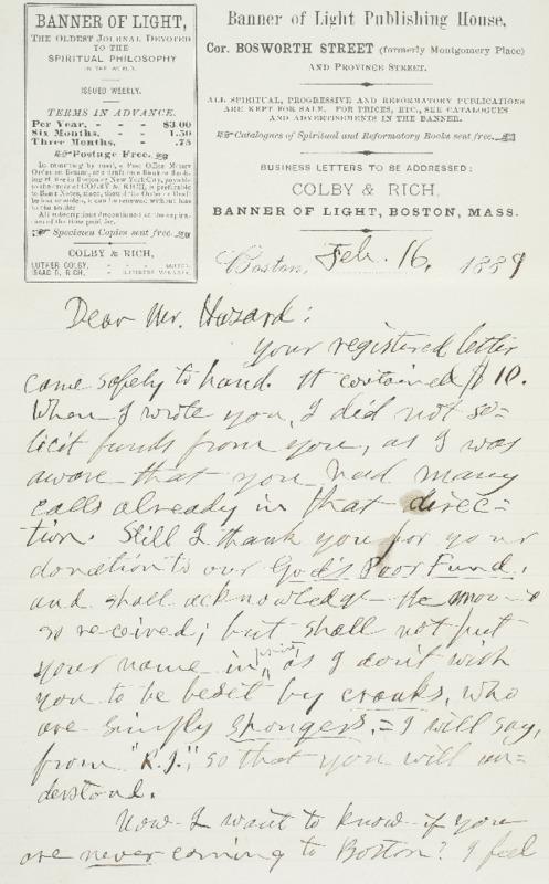 Letter to Joseph Peace Hazard, 1889-02-16