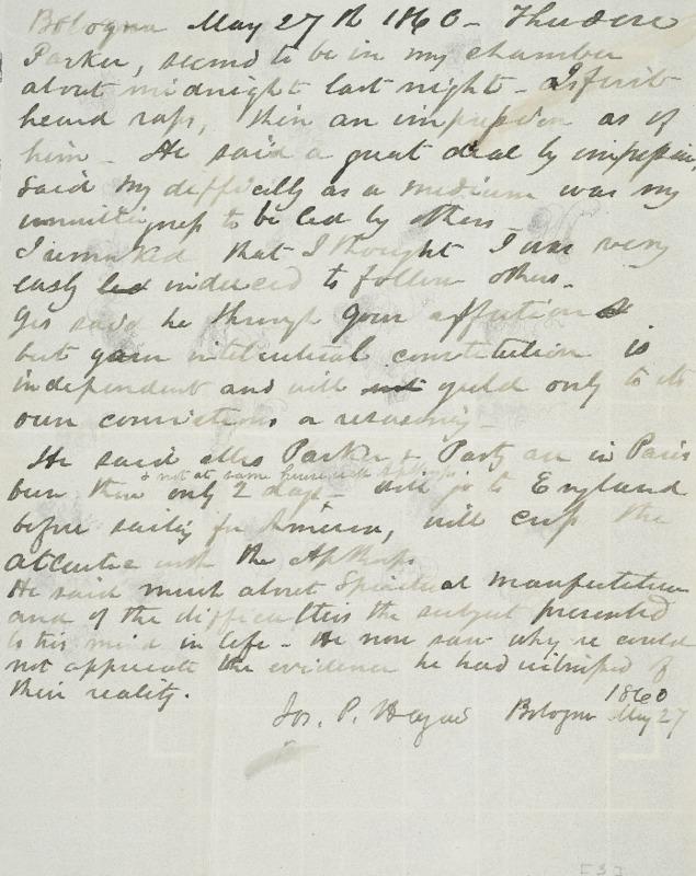 Notes, Bologna, 1860-05-27