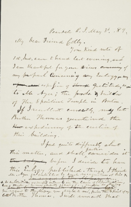 Letter to Luther Colby, 1889-05-03