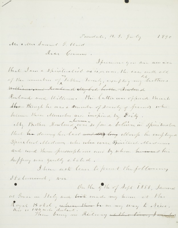 Letter to Mr. and Mrs. Samuel G. Ward, 1890-07