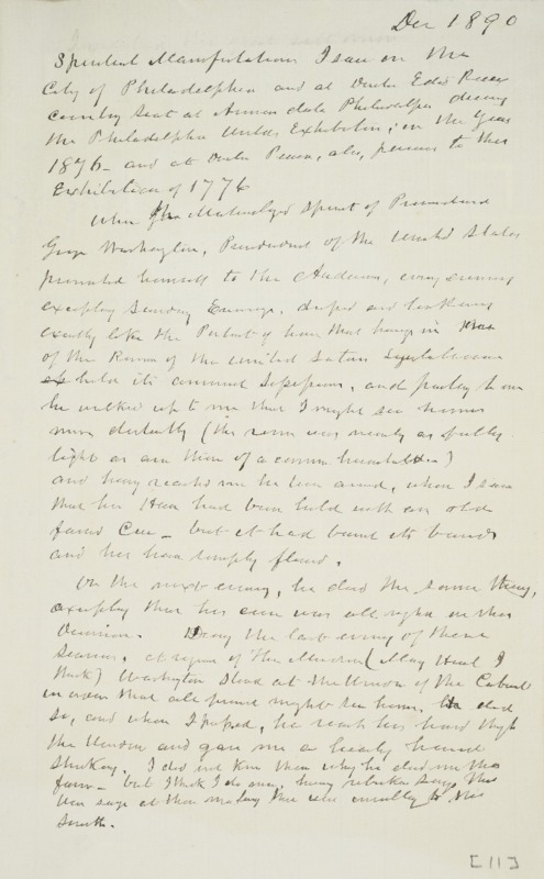 Notes on Spirit of George Washington, 1890-12