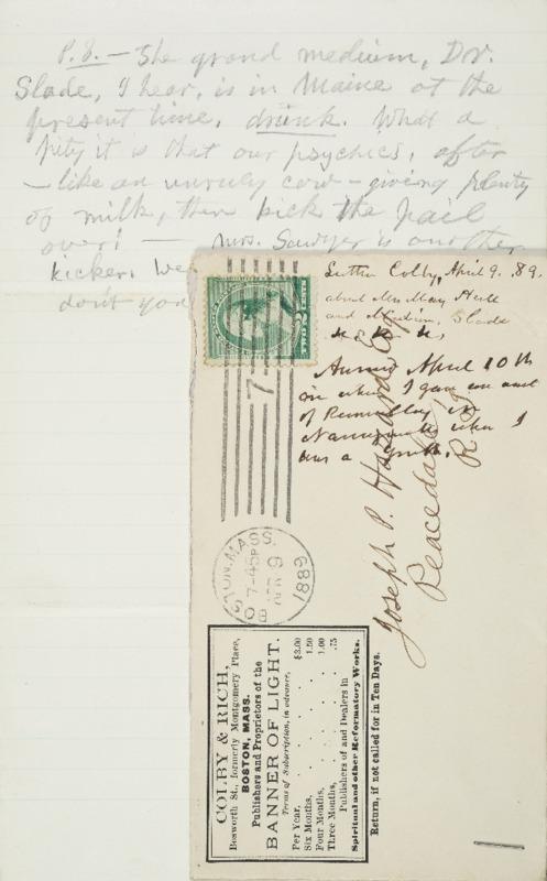 Letter to Joseph Peace Hazard, 1889-04-09