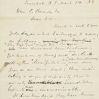 Letter to John C. Bundy, Esq. 1889-03-14