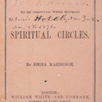 Rules to be Observed when Forming Spiritual Circles, 1870