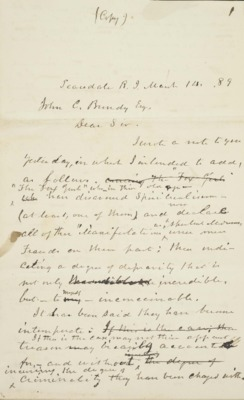 Letter to John C. Bundy, Esq. 1889-03-14
